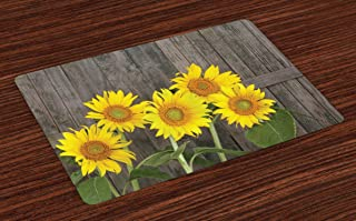 Ambesonne Sunflower Place Mats Set of 4, Helianthus Sunflowers Against Weathered Aged Fence Summer Garden Photo, Washable Fabric Placemats for Dining Room Kitchen Table Decor, Brown Yellow