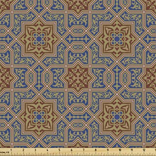 Ambesonne Moroccan Fabric by The Yard, Traditional Design Tile with Geometric Floral Motifs Curly Details, Decorative Fabr...
