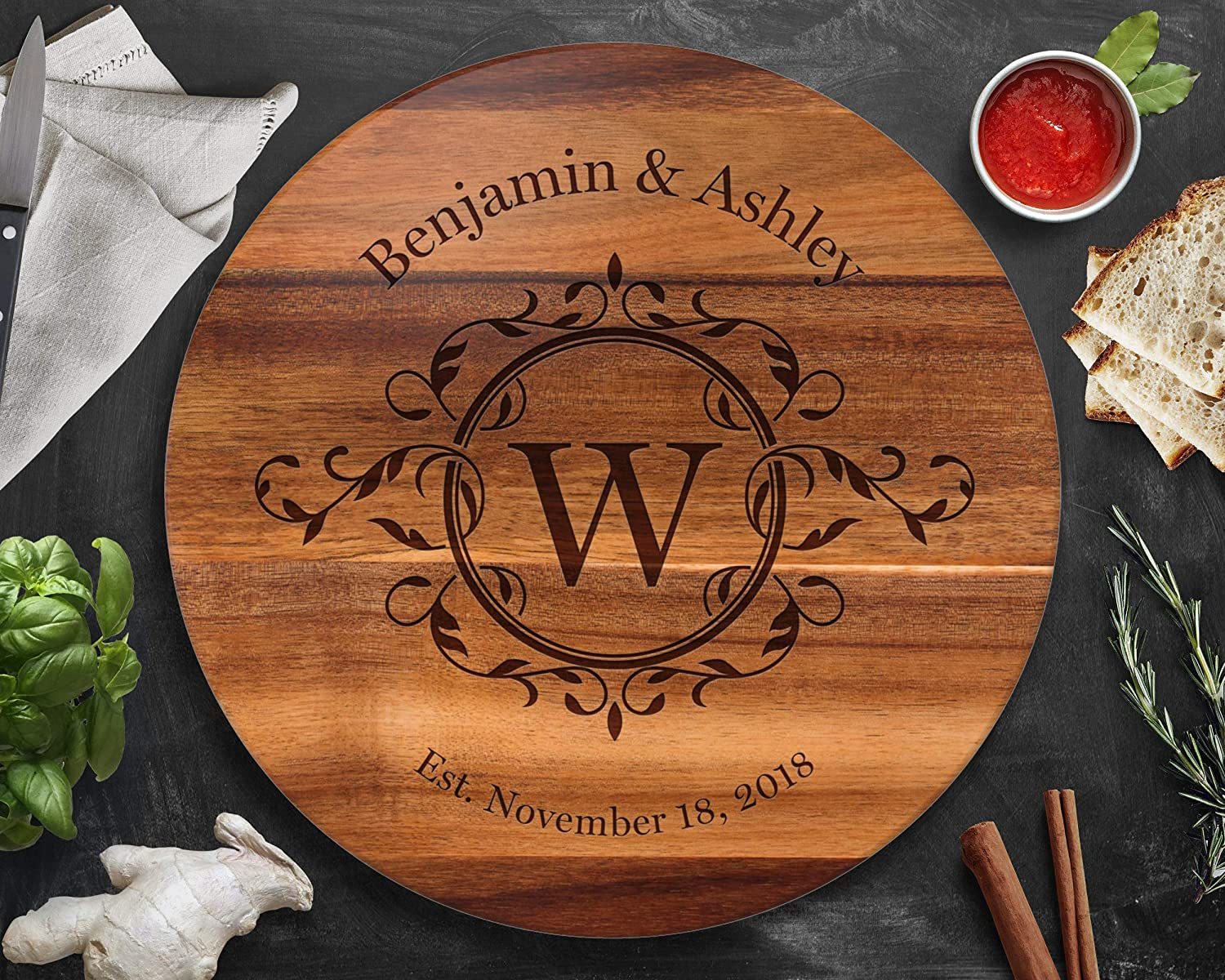 """Personalized Lazy Susan Turntable lowest price - Engr Large Kansas City Mall Wood 18"""" Acacia"""