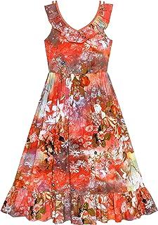 ed2ded5c09b Sunny Fashion Robe Fille Floral Coton Décontractée Été Plage Robe d été 6-12