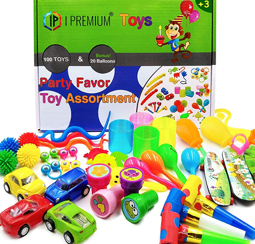 IP I Premium 120 PCS Toy Assortment, Party Favors for Kids, Bulk Toys Best As Pinata Filler, Goodie Bag Fillers, Treasure Box Prizes for Classroom, Carnival and for Birthday. for Boys and Girls