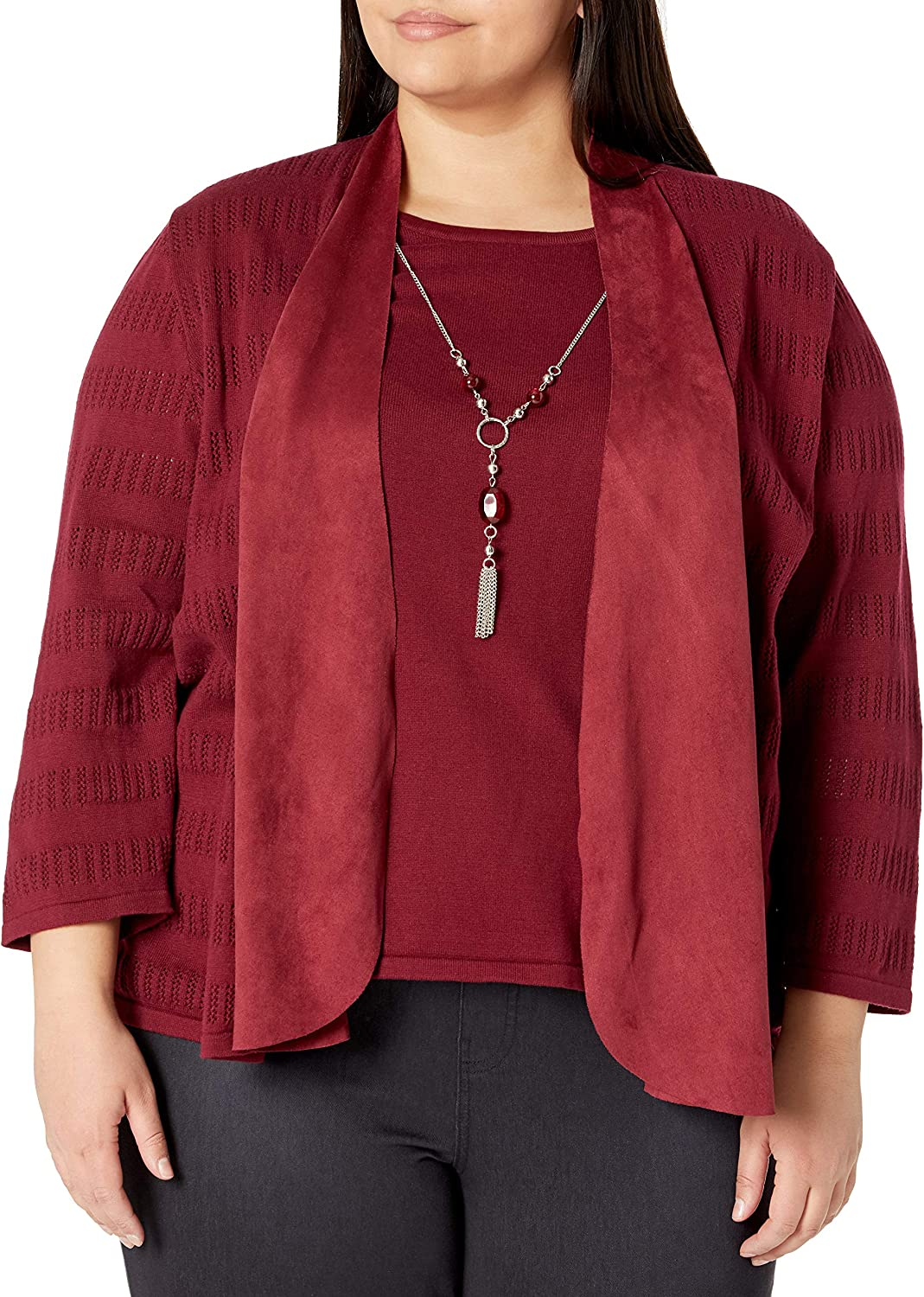 Alfred Dunner Women's Plus Size Beaded Diamond Layered Sweater with Woven Details