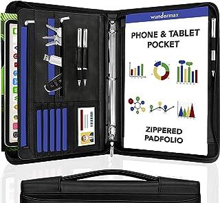 Wundermax Portfolio Binder A Zippered Padfolio with Handle & 3 Ring Binder Document Organizer Briefcase Professional PU Le...