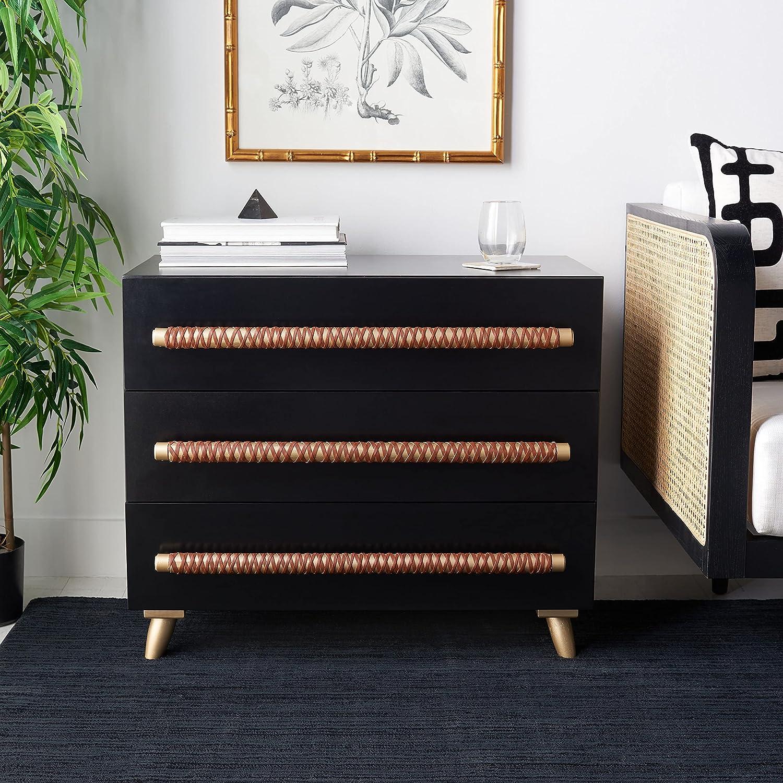 SAFAVIEH Home Collection Raquel Albuquerque Mall gift Black Livi 3-Drawer Storage Gold