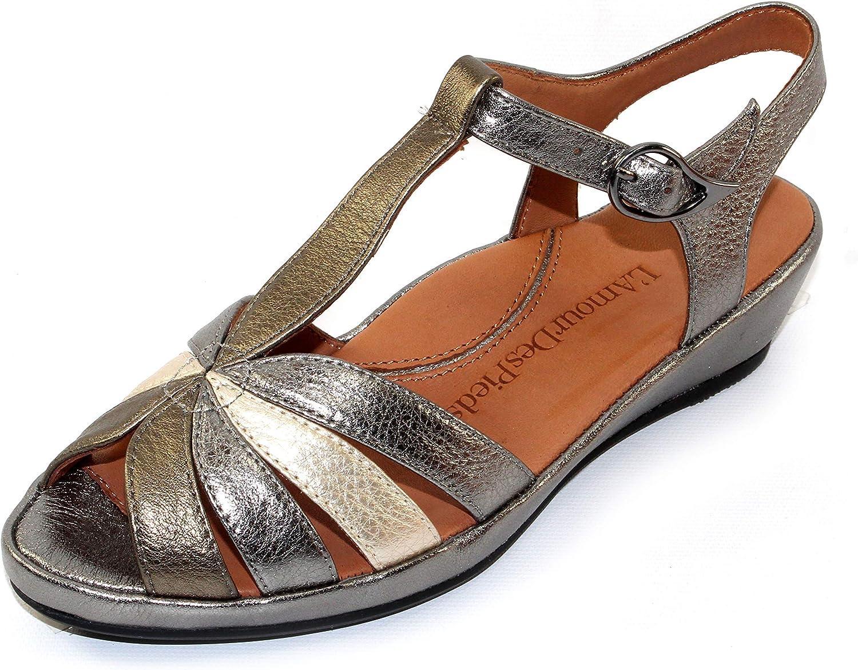 Lamour Des Pieds Women's Boqin in Metallic Multi Lamba Leather - Size 8.5 M