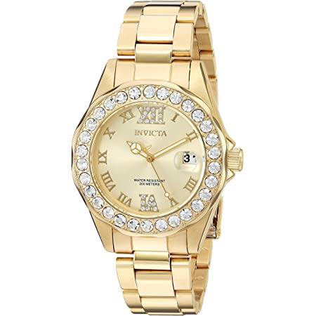 Invicta Women's Pro Diver 38mm Gold Tone Stainless Steel Quartz Watch, Gold (Model: 15252)