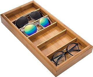 MyGift Modern Bamboo 6-Slot Sunglasses Storage Case/Eyewear Display Tray