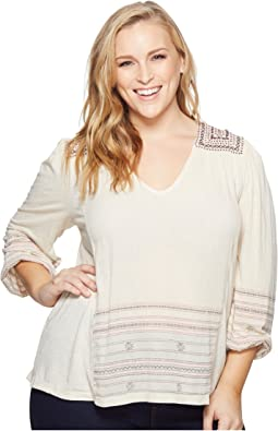 Lucky Brand - Plus Size Market Embroidered Peasant Top