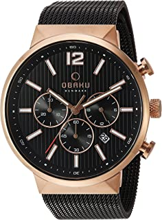 Obaku Men's Analog-Quartz Watch with Stainless-Steel Strap, Black, 22 (Model: V180GCVBMB)