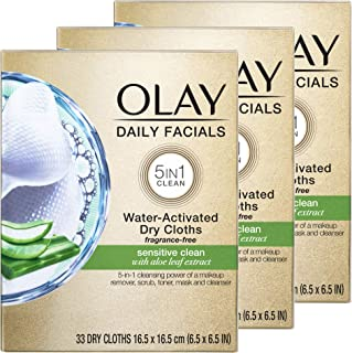 Olay Daily Facials for Clean Sensitive Skin, Makeup Remover Wipes, Soap-Free and Fragrance-Free Cleanser Cloths, 33 Count...