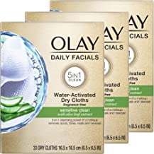 Olay Daily Facials for Clean Sensitive Skin, Makeup Remover Wipes, Soap-Free and..