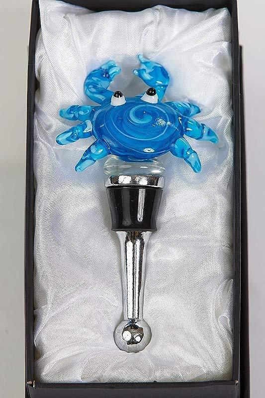 Picnic Plus Unique Handmade Blown Glass Wine Bottle Stopper For Wine Liquor Oil Or Vinegar Bottle Blue Crab