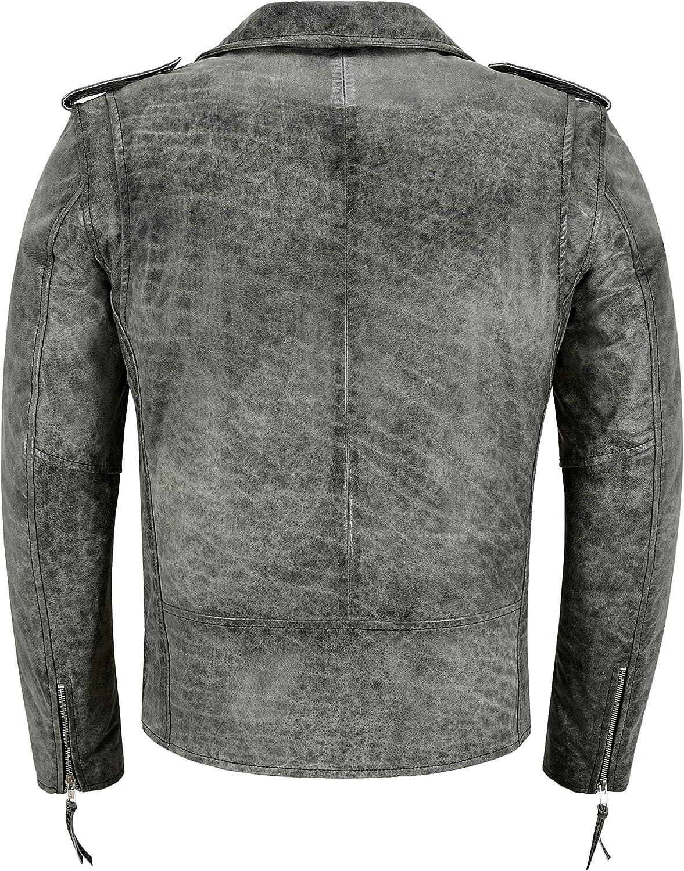 Men's Brando Jacket Real Leather Grey Cracked Effect Fashion Biker Perfecto SR-MBF