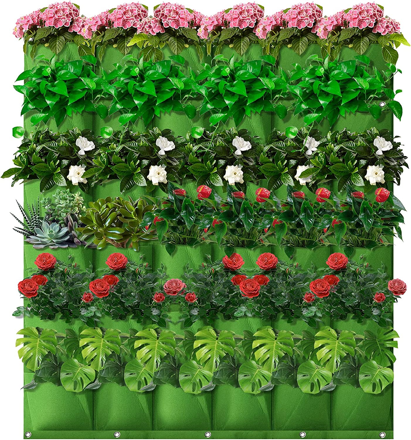 LINGSFIRE Vertical Garden Planter, 36 Pockets Felt Wall Hanging Planter Large-Capacity Wall Planter Bags for Flowers Vegetables and Herbs Planting Yard Garden Patios and Home Decoration