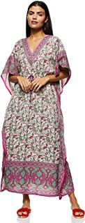Women's Long Kaftan Ethnic Print Beach Cover Up Sleepwear Classic Night Gown Robe V-Neck Lightweight Loose Vintage Dress