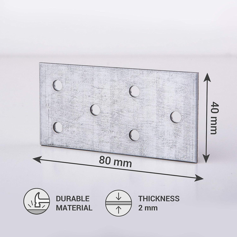 Plaque dassemblage pour connecteur de r/éparation plat en acier 80 x 40 x 2 mm Lot de 2
