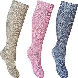 Calcetines de senderismo para mujer, de punto acanalado, mezcla de lana de lujo, largo (3 pares)