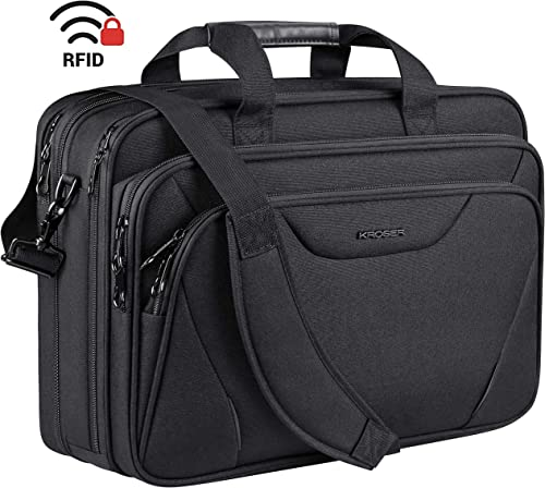 "KROSER 18"" Laptop Bag Premium Laptop Briefcase Fits Up to 17.3 Inch Laptop Expandable Water-Repellent Shoulder Messen..."