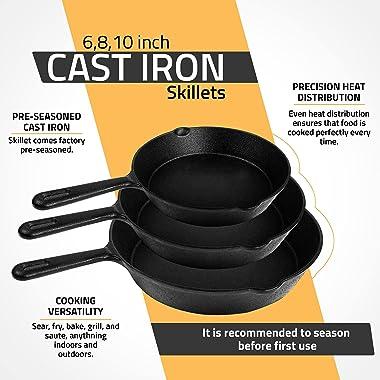 Utopia Kitchen Pre-Seasoned Cast Iron Skillet Set 3-Piece - 6 Inch, 8 Inch and 10 Inch