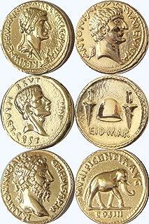 Golden Artifacts Cleopatra Brutus Marcus Aurelius 3 Roman Coins Collectible Coin Sets Roman Empire (3ROME-G)