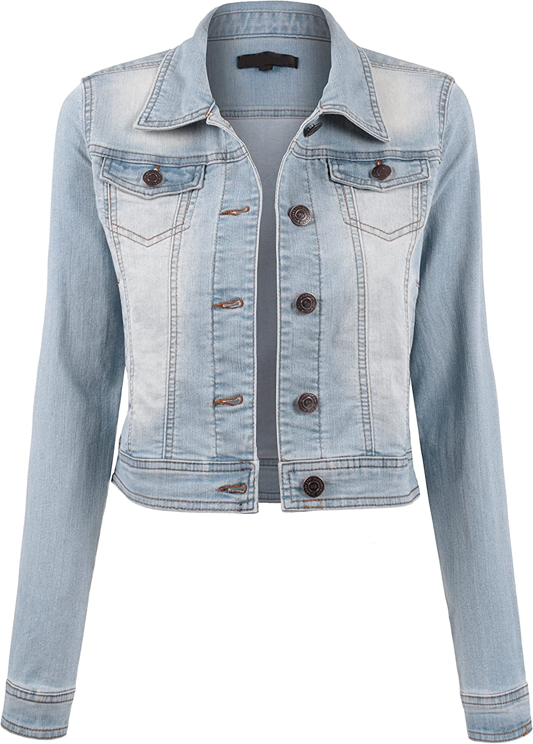 BEKDO Womens Classic Long Sleeve Button Cheap Max 76% OFF super special price Up Jacket Slim Fit Denim