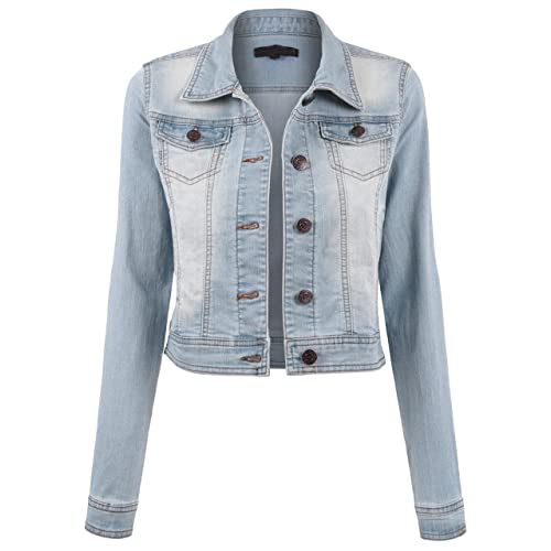 890e7f1cac8f5 BEKDO Womens Classic Long Sleeve Button up Slim Fit Denim Jacket