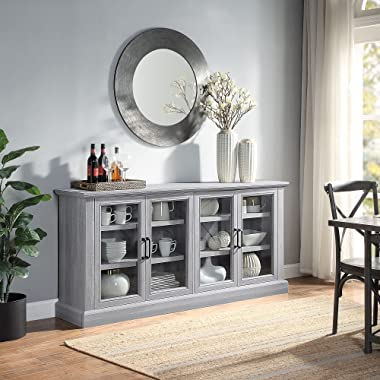 BELLEZE Modern Farmhouse Wood Sideboard Buffet Entertainment Center with Storage Cabinet, Glass Doors, and Adjustable Shelves