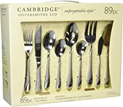 Cambridge Silversmiths Swirl Sand 89-Piece Flatware Set with 5-Piece Hostess Set
