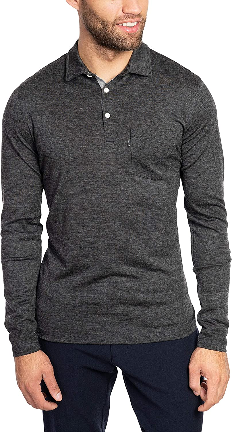 Woolly Clothing Men's いつでも送料無料 Merino 配送員設置送料無料 Wool Rugby - Polo Breathabl Wicking