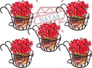 """NAYAB Iron Heart Design Hanging Baskets Flower Pot Plant Stand Holder Without Pots for Railing Fence Balcony Garden Home Indoor Outdoor (Set of 5 Basket- 8"""" X 6"""")"""