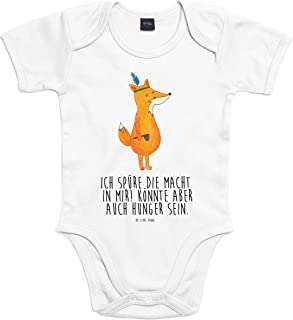 Mr. & Mrs. Panda Mr. & Mrs. Panda Uni, Strampler, 6-12 Monate Baby Body Fuchs Indianer mit Spruch - Farbe Transparent