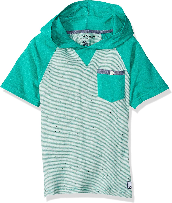 U.S. Polo Assn. Boys' Short Sleeve Hooded Popover Raglan T-Shirt