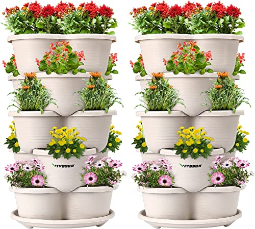 discount VIVOSUN 2-Pack 5 Tier Vertical Gardening Stackable Planter for Strawberries, Flowers, online sale high quality Herbs, Vegetables Ivory sale