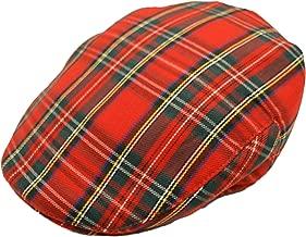 Hawkins Men's Scottish Tartan Flat Cap in 2 Colours & Sizes