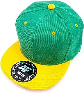 AcademyFits Quality 6 Panel High Crown Flat Visor Snapback Men Women Unisex Design Plain Blank Solid Hat 2 Tone Cap #1013