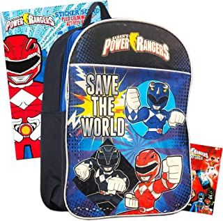 Power Rangers Backpack Preschool Boys Set with Stickers, Coloring Books and More