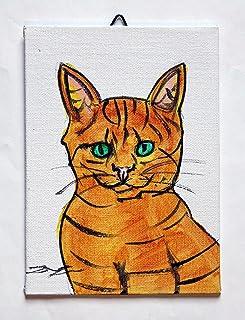 Gatto-Dipinto ad acrilico su cartoncino telato dimensioni cm 13x18x0,3 cm.Pronto per essere attaccato al muro.Made in Ital...
