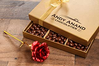 Andy Anand's Chocolate covered Almonds 1 lbs, Large 24K Gold Flower, Birthday, Valentine Day, Gourmet Christmas Holiday Food Gifts, Thanksgiving, Halloween, Mothers day, Get Well Basket, Unique Gift