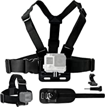 CamKix Body Mount Bundle Compatible with Gopro Hero 8, 7, 6, 5, Black Session, Hero 4, Session, Black, Silver, 3+, 3, DJI Osmo Action - Chest Harness Mount/Head Strap Mount/Wrist Mount/J-Hook