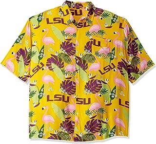 NCAA LSU Tigers Foco Floral Button Up Shirt, Team Color, XXL