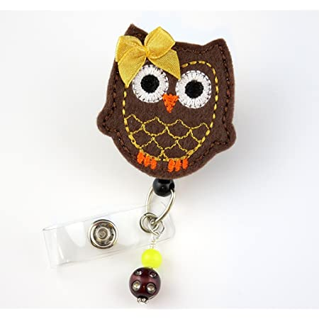 Badge Reels Gray and Fuchsia Owl Name Badge Holder Nurse Badge Nurse Badge Reel Pediatric RN Retractable ID Badge Holder Badge Clip