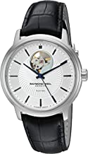 Raymond Weil Men's Maestro Stainless Steel Swiss-Automatic Watch with Leather Strap, Black (Model: 2227-STC-65001)