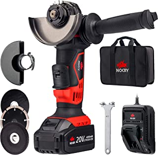 "NoCry 20V 4 1/2"" Cordless Angle Grinder - 10,000 RPM Max Speed; 4.0 Ah Lithium Ion Battery, Fast Charger, Carrying Case and 7 Accessories Included"
