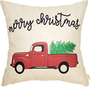 Fjfz Rustic Merry Christmas Red Vintage Truck with Tree Winter Holiday Sign Gift Cotton Linen Home Decorative Throw Pillow Case Cushion Cover with Words for Sofa Couch, 18