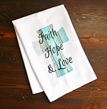 Kitchen Dishtowel - Faith, Hope, and Love Turquoise Wooden Cross