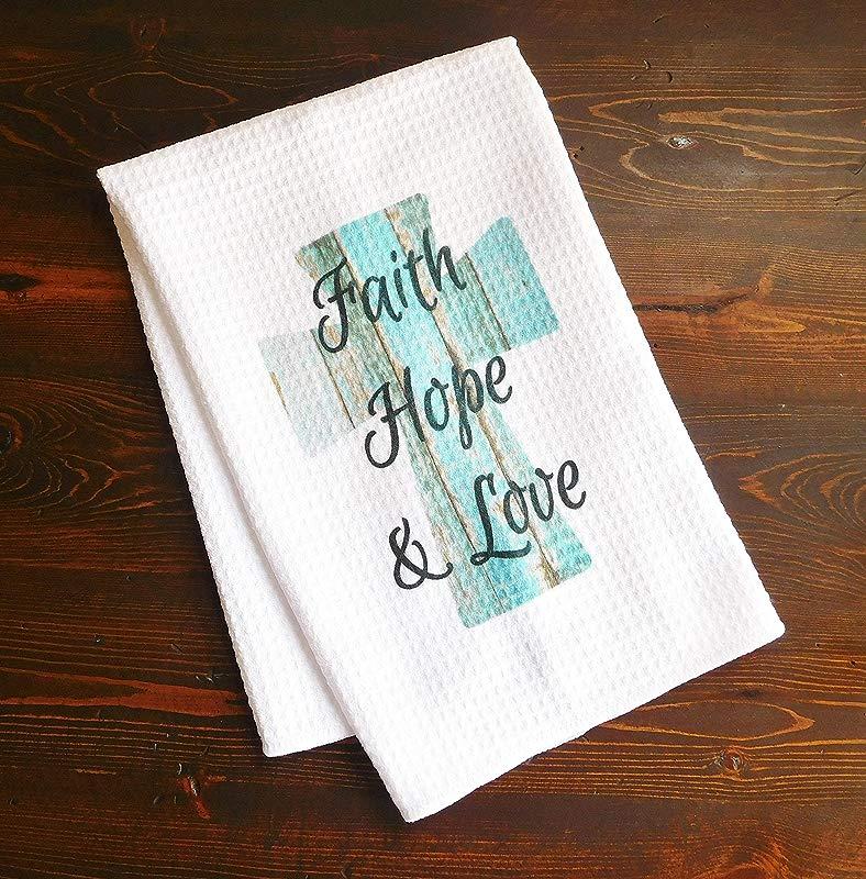 Kitchen Dishtowel Faith Hope And Love Turquoise Wooden Cross