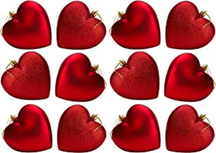 Pack of 12-100mm Glitter Heart Shaped Christmas Tree Baubles - Matte & Glitter Design - Christmas Decorations Red