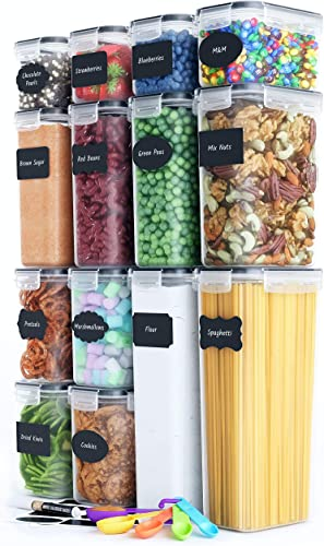 lowest Airtight Food Storage Containers Set [14 Piece] - lowest Kitchen Pantry Organization and Storage, BPA-Free, Plastic Canisters with Durable Lids Ideal for high quality Cereal, Flour & Sugar - Includes Labels, Marker & Spoon Set (14) outlet online sale