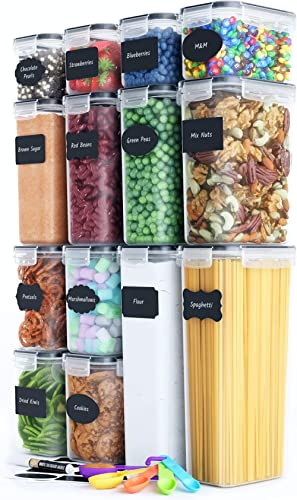 Chef's Path Airtight Food Storage Container Set - 14 PC - Kitchen & Pantry Organization - BPA-Free - Plastic Canister...
