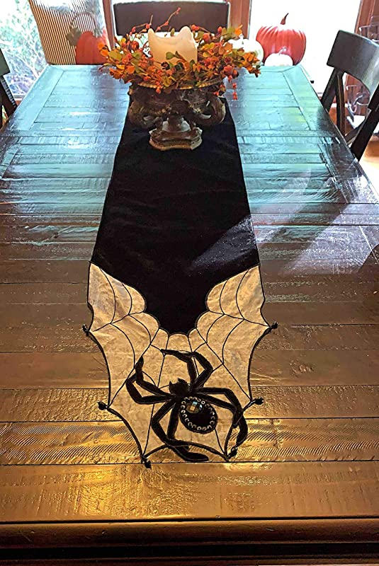 HomeEyeCandy Halloween Fall Table Runner Black Velvet Applique Spider W Web